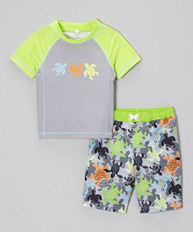 ae16fa043f73 Loving this Lime Turtle Rashguard   Swim Trunks - Infant