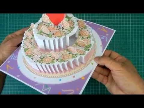 Birthday Cake Pop Up Card Tutorial Youtube Cake Card Wedding Cake Cards Card Tutorial