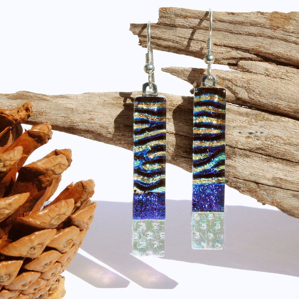 Dichroic Glass Earrings - Fused Glass Jewelry, Long Slim Dangle, Sterling Silver French Hooks, Boho, Blue Green Purple (Item #30855-E) by IntoTheLight on Etsy https://www.etsy.com/listing/208011149/dichroic-glass-earrings-fused-glass