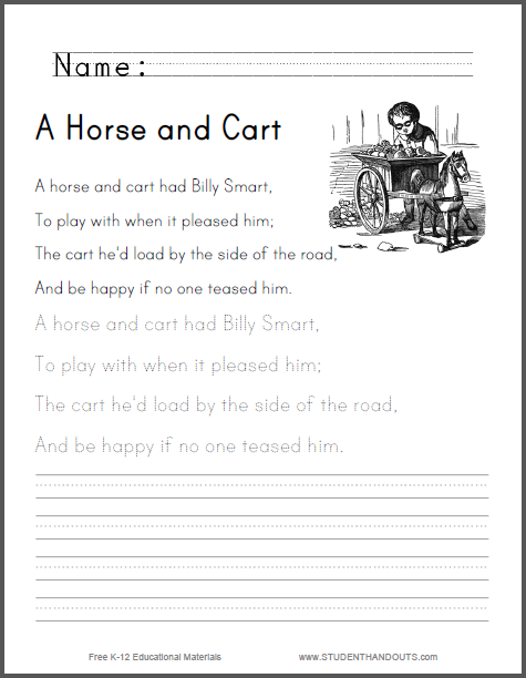 A Horse and Cart Worksheet for Kids Free to print PDF