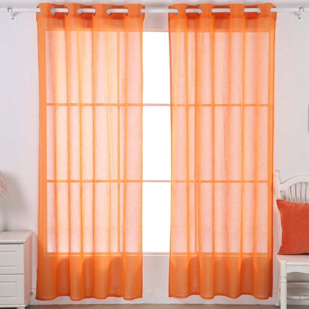 Deconovo Linen Look Volie Sheer Drapes with Grommet Top Curtains for Kid Room 52W x 95L Orange 2 Drapes *** Read more  at the image link.