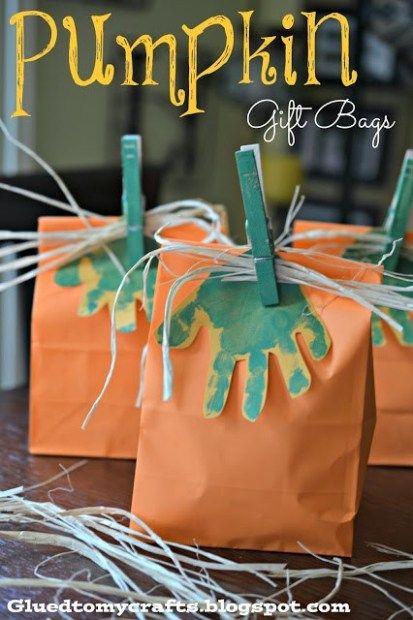 Handprint Pumpkin Gift Bags #pumpkincraftspreschool
