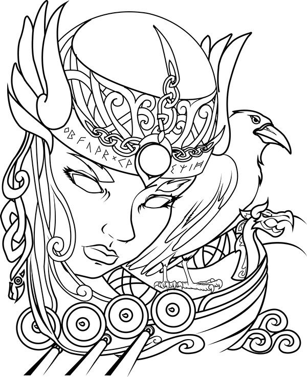 Drawings Of Valkyrie Designs Sketch Coloring Page Viking Woman Valkyrie Tattoo Norse Tattoo