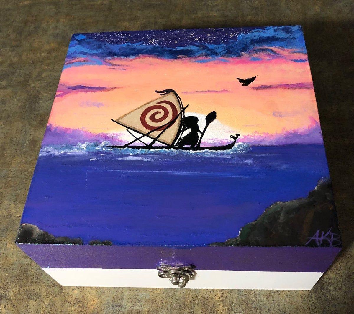 Hand painted Moana jewerly box on Mercari