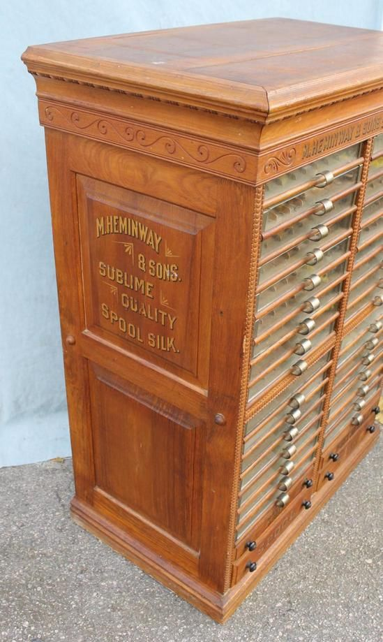 Antique 36 Draw M Heminway Silk Spool Cabinet Country Mercantile Store  Display - Antique Thread Cabinet..... Be Still My Beating Heart. VINTAGE