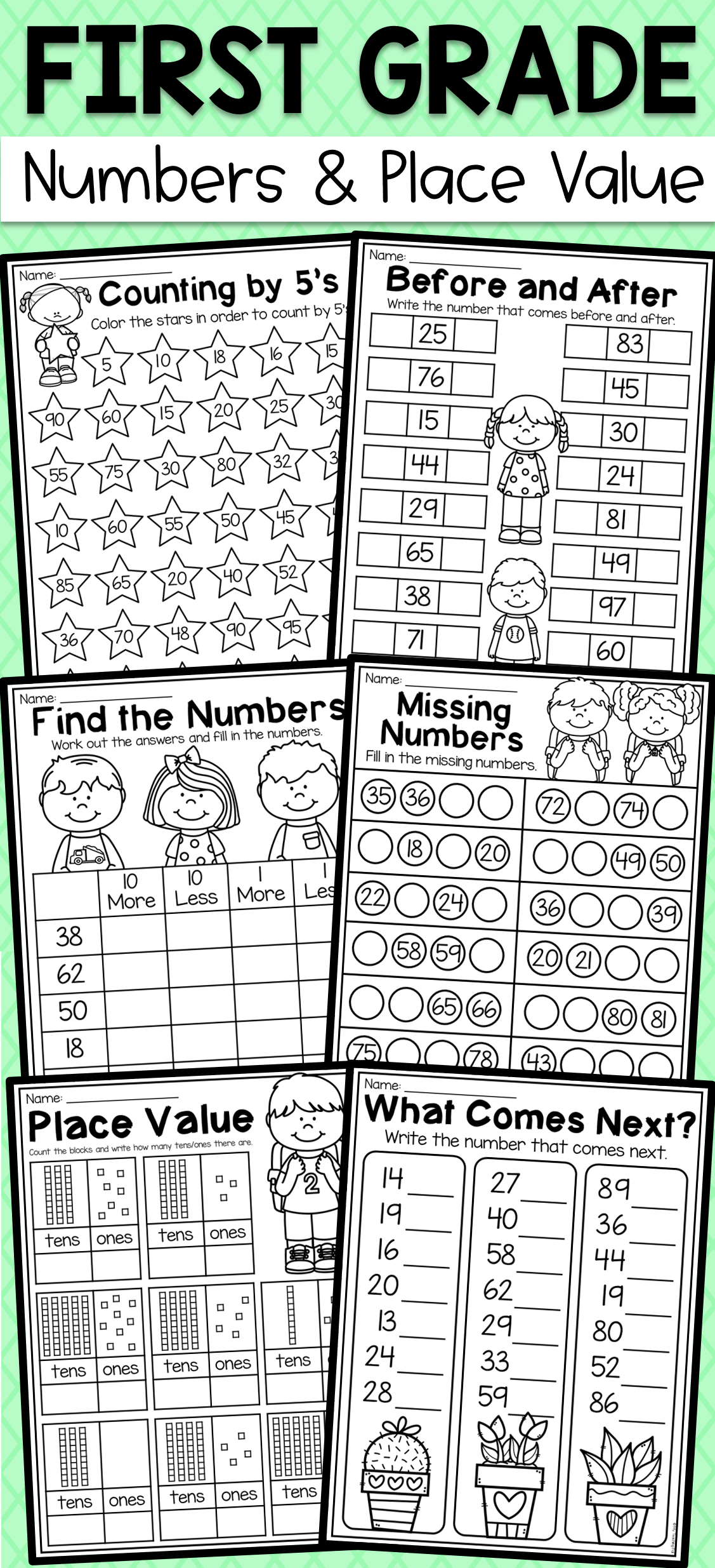 First Grade Numbers And Place Value Worksheets Dream Classroom In 2020 First Grade Math Worksheets First Grade Worksheets First Grade Homework [ 2469 x 1127 Pixel ]