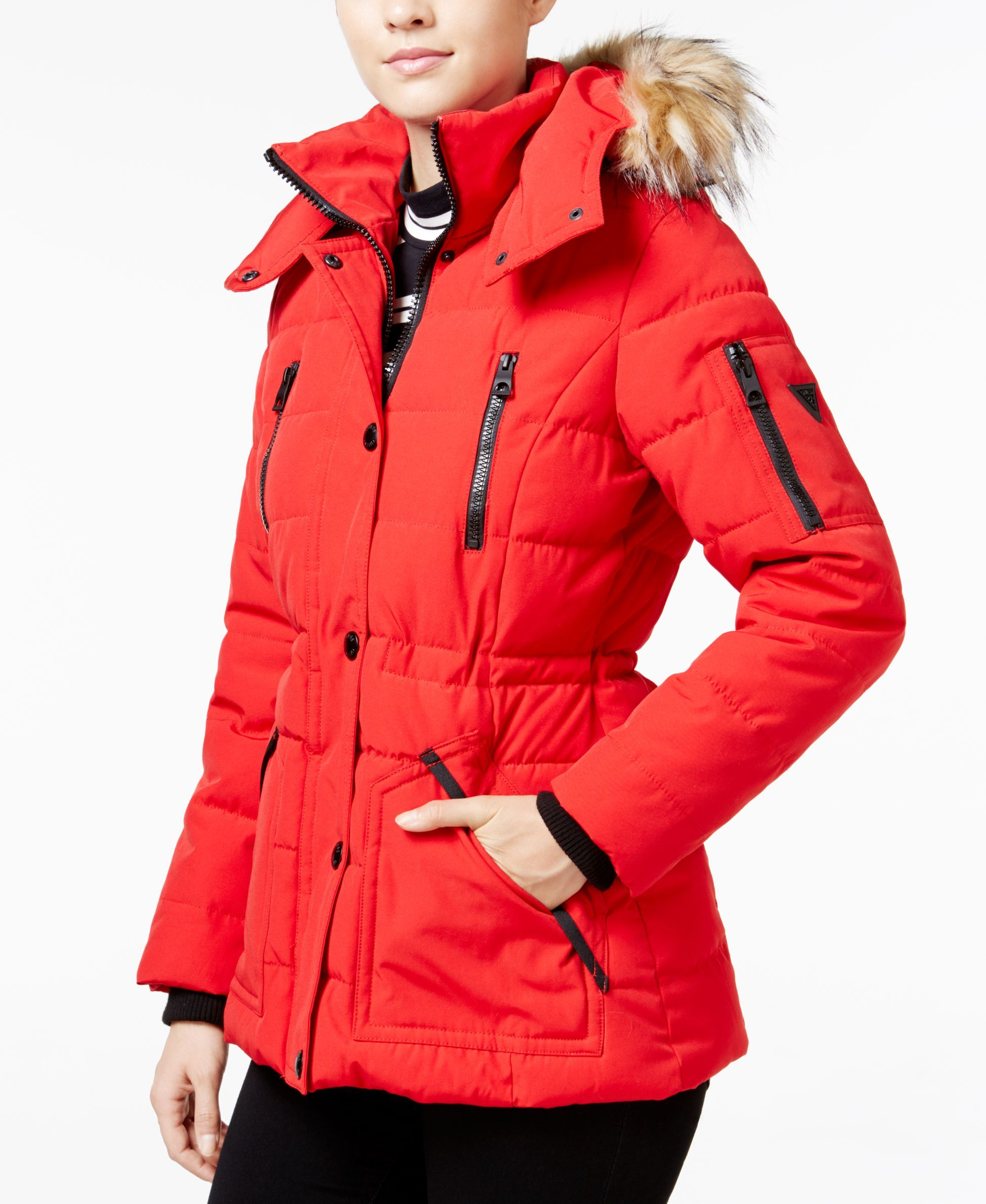 Guess Faux Fur Trim Hooded Puffer Coat Only At Macy S Puffer Coat Red Puffer Coat Faux Fur Trim Coat [ 2378 x 1947 Pixel ]