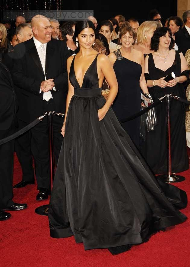 Deep V-Neck Floor Length Oscar Celebrity Dresses Inspired by Camila ...