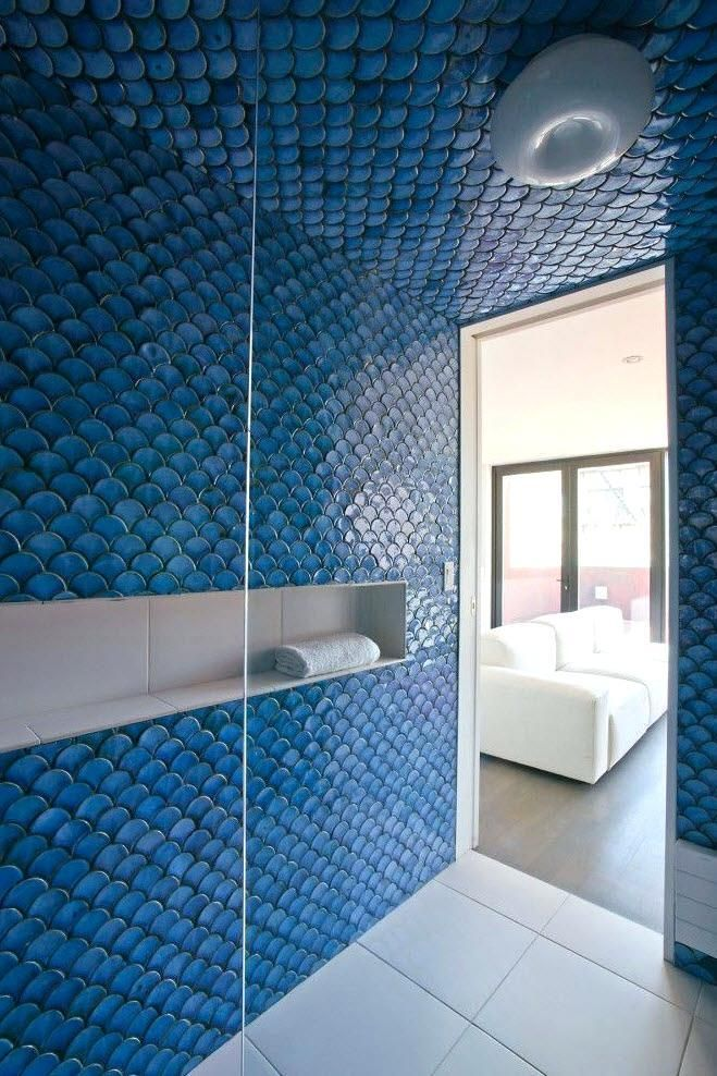 Light Blue Tiles Fish Scale Tile Modern Bathroom Tile Moroccan Fish Scale Tile