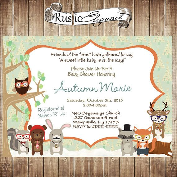 printable woodland animal baby shower invitation these would look great printed on our eco