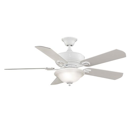 Camhaven White Ceiling Fan With Two Light Kit Fanimation Stem