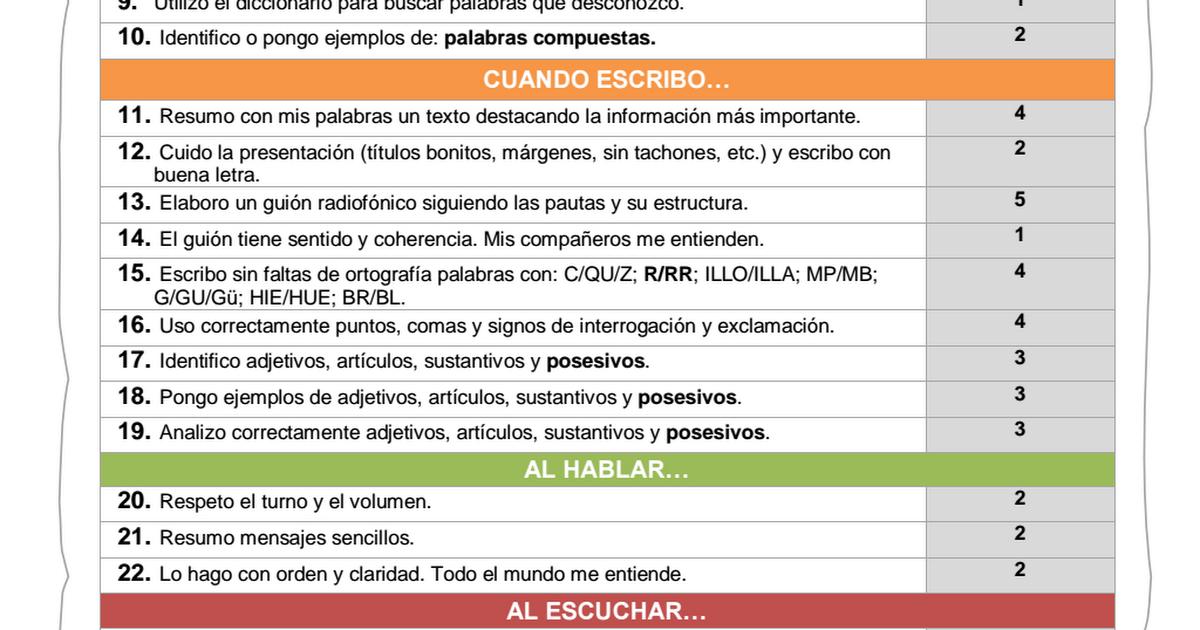 Grupo Actitudes Lista De Control Para La Autoevaluación Del Alumno Pdf Autoevaluacion Lista De Control Palabras Compuestas