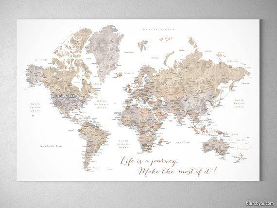 Personalized Anniversary Pushpin World Map.Custom Push Pin World Map Anniversary Gift Valentines Gift