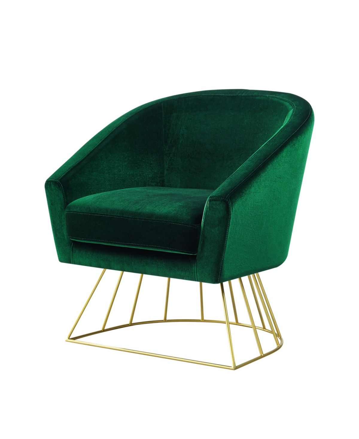Inspired Home Adalene Velvet Accent Chair With Metal Base