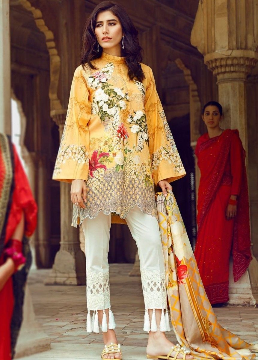 Floral printed yellow cotton lawn eid dress with