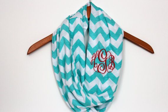 Tiffany Blue Monogrammed Chevron Infinity Scarf in by Prettyloulou, $26.95