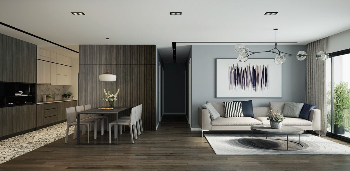 High Quality Colour Scheme Of Dark Wood Flooring, And Cool Grey Walls