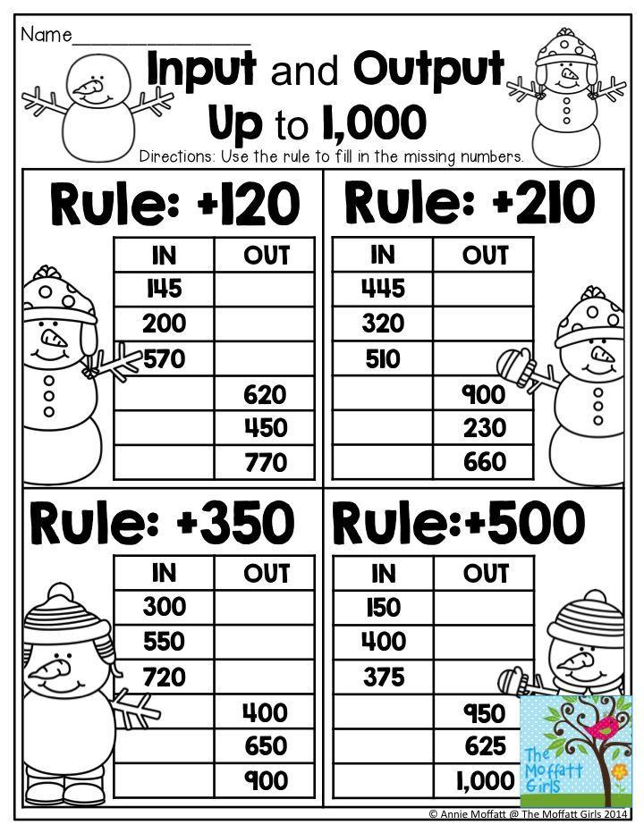 December No Prep Math And Literacy 2nd Grade Math Math About Me 3rd Grade Math Input output machines worksheets