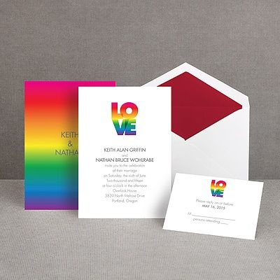 rainbow love I same sex wedding invitation I #loveislove
