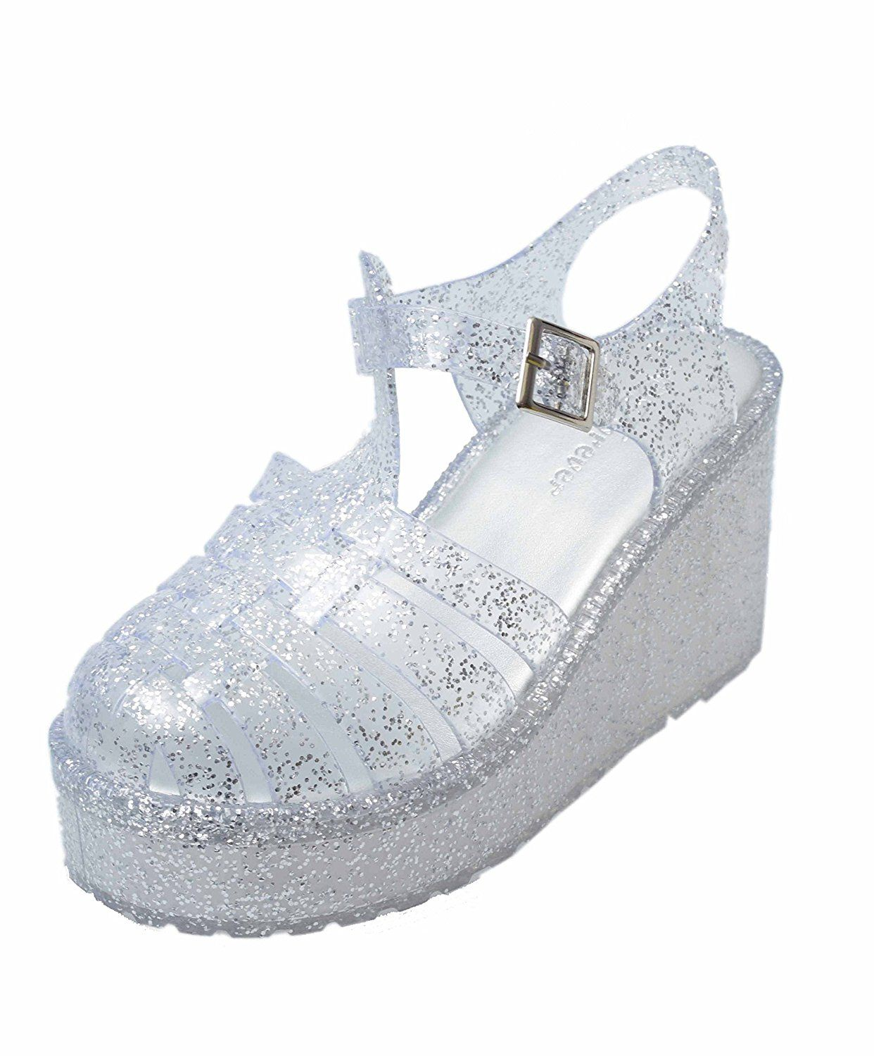 132f2f5ee7d Forever Womens T-Strap Closed Round Toe Jelly Flatform Platform Sandals  Adjustable Strap Casual Comfort Shoes (Clear Glitter) *** Check this  awesome image ...