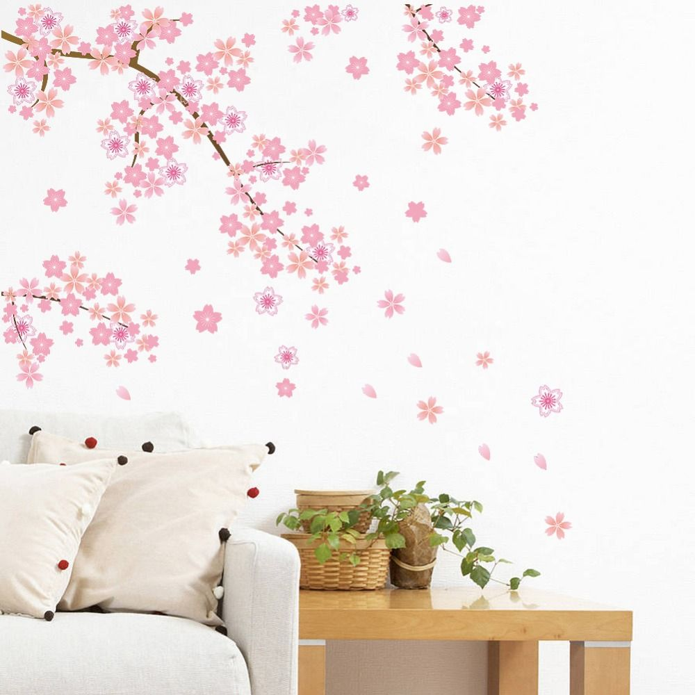 Find More Wall Stickers Information about Pink Flying Vine Flower ...