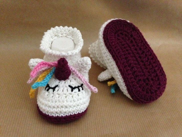 Pdf Häkelanleitung Babyschuhe Einhorn Babys Bei Makerist Alma