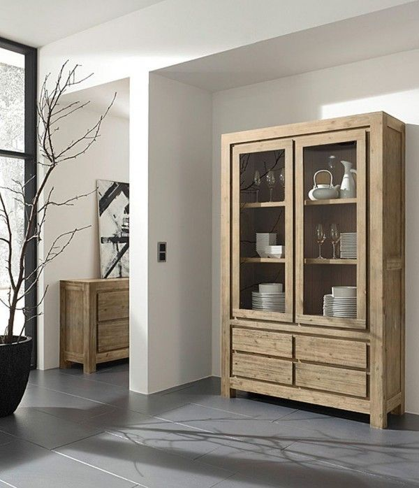 m bel online kaufen glasvitrine mit 2 t ren 4 schubl den. Black Bedroom Furniture Sets. Home Design Ideas