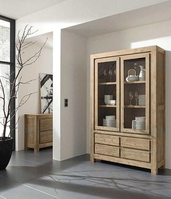 m bel online kaufen glasvitrine mit 2 t ren 4 schubl den soft close zus griffe 2. Black Bedroom Furniture Sets. Home Design Ideas