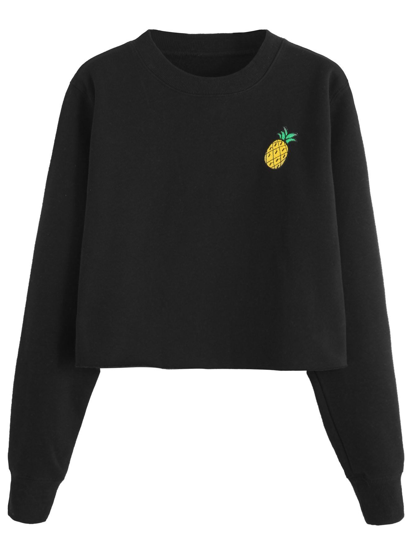 Black Pineapple Embroidered Crop Sweatshirt Crop Sweatshirt Sweatshirts Women Sweatshirts [ 1785 x 1340 Pixel ]