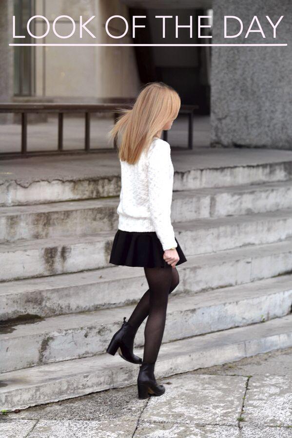 Falda negra, jersey botines