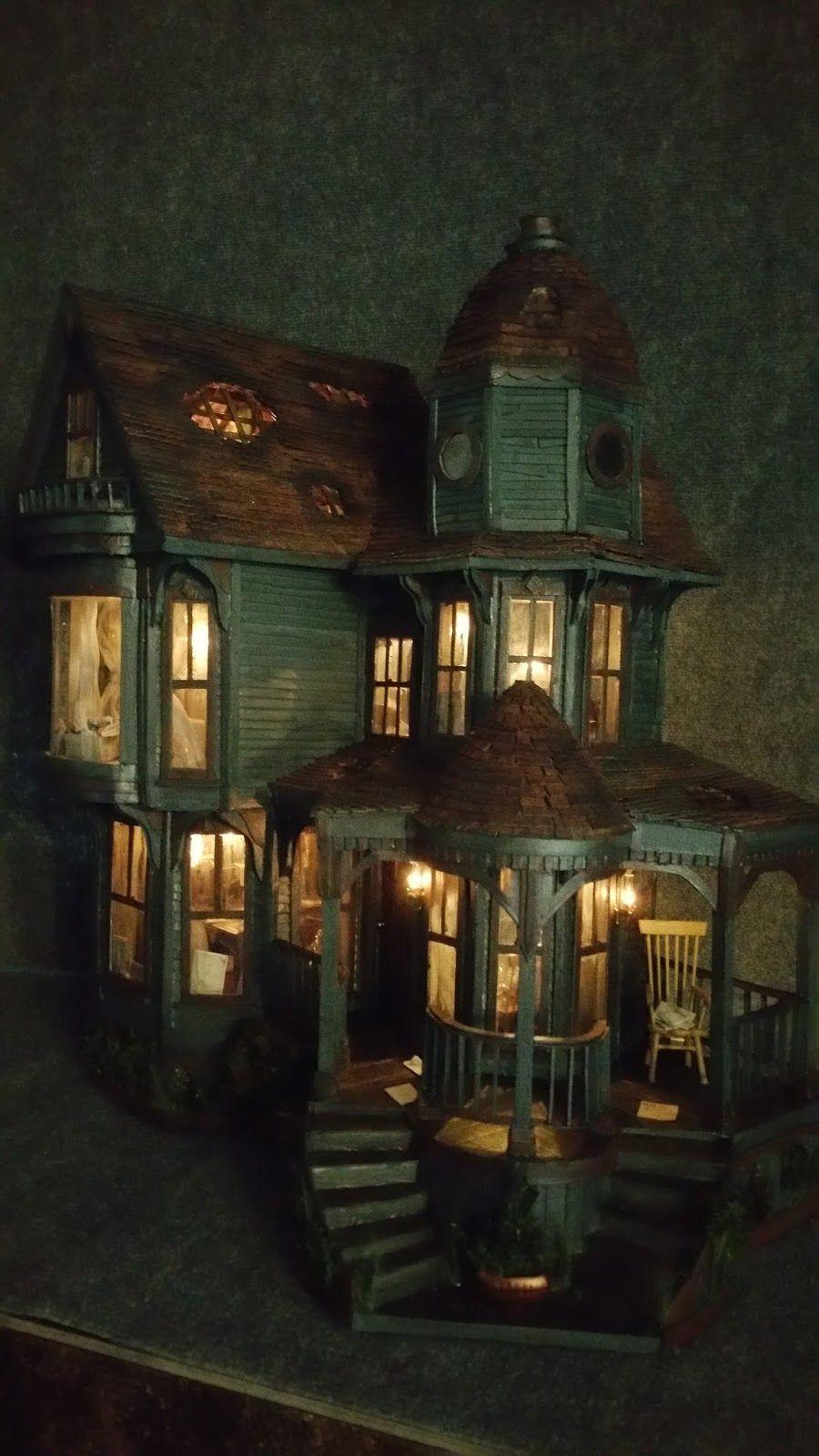 Greggs Miniature Imaginations: Haunted Mansion made out of Cardboard #haunteddollhouse