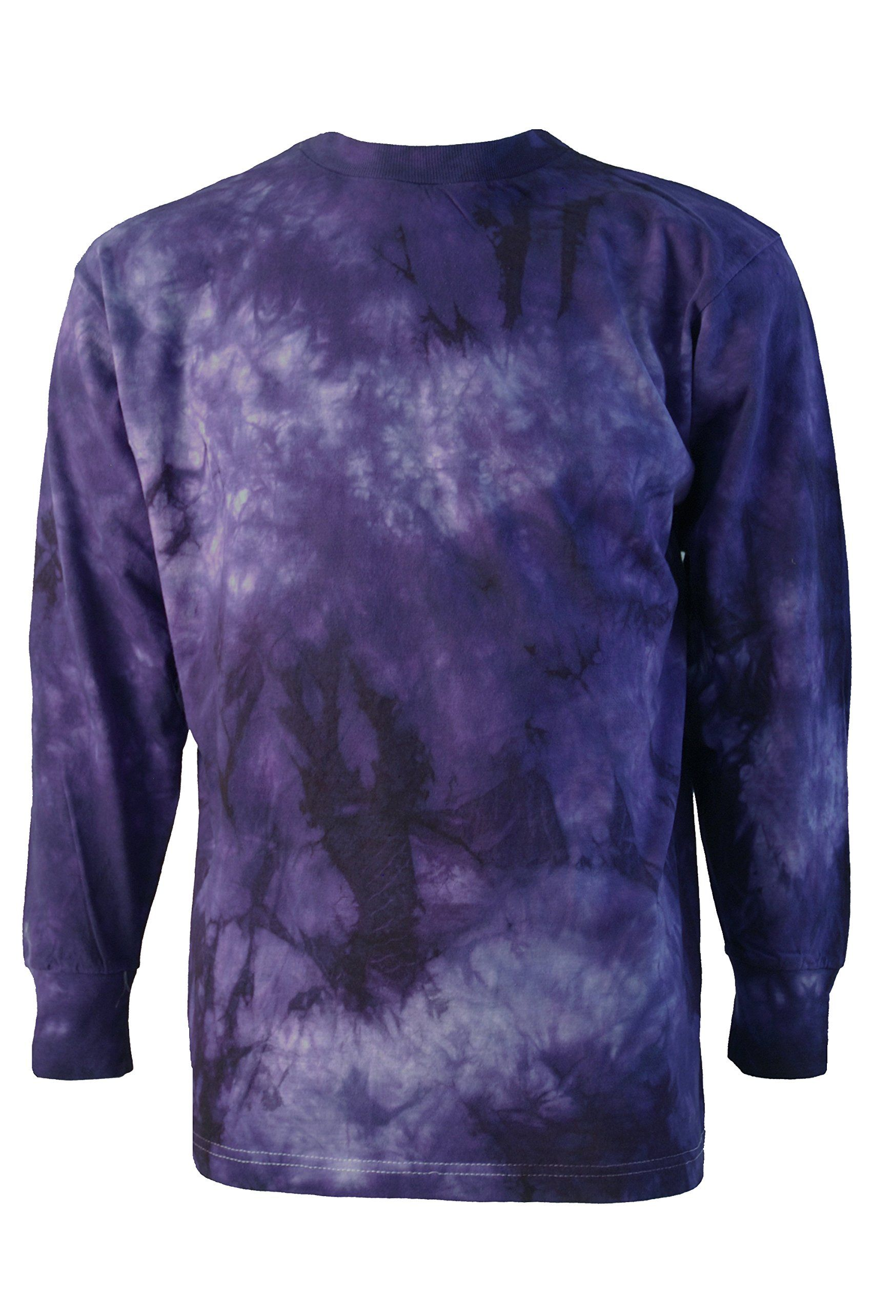 Mens Retro Festival Tie Dye Long Sleeve T Shirt Purple And White Size XLarge 44inch 112cm Chest