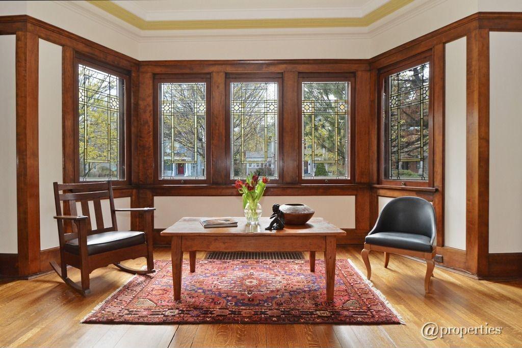 Craftsman Living Room with Crown molding, Hardwood floors ...