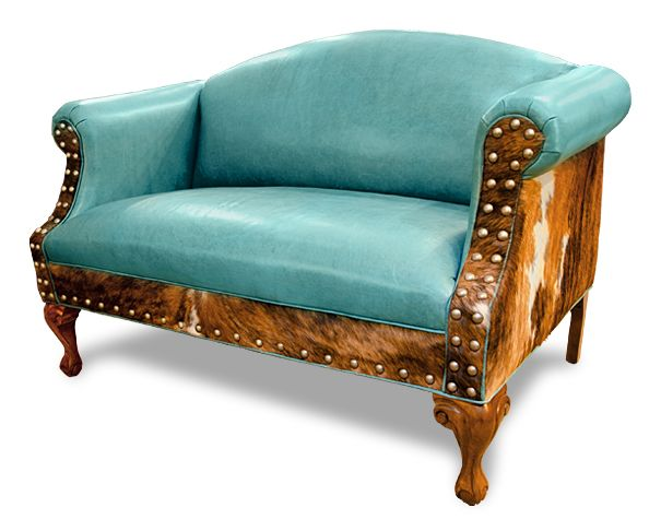 Sweet Ali Settee Caribbean Blue Turquoise Leather On The