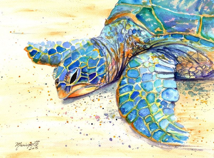 Original Sea Turtle Watercolor Painting Kauai Art Hawaiian