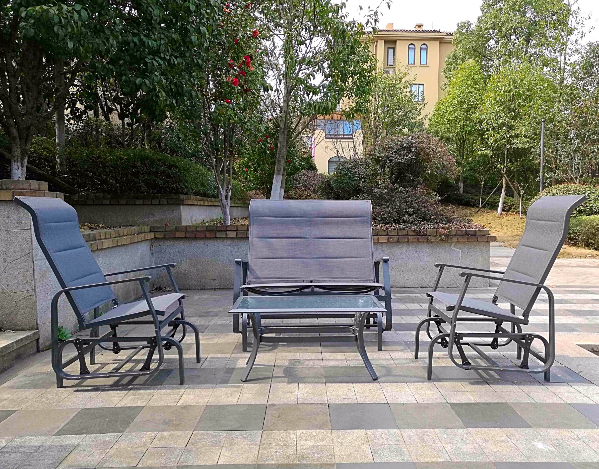 4pc Outdoor Glider Conversation Deep Seating Furniture Set