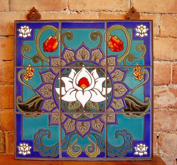 Decorative Wall Tile Murals 18X18 Lotus Mandala Hand Glazed Decorative Tile Mural  Lotus