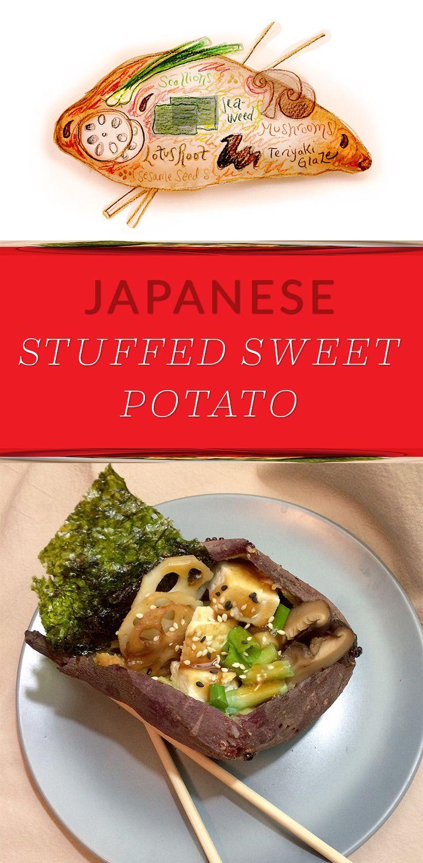 Japanese Stuffed Sweet Potato with Teriyaki Glaze