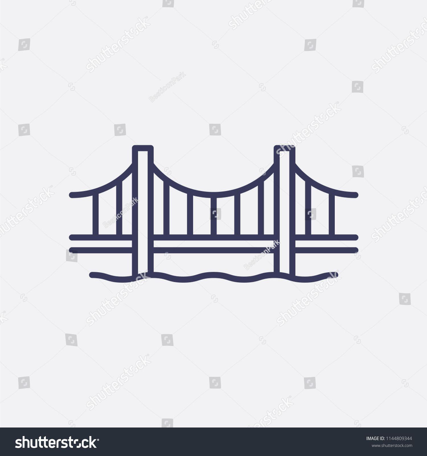 Outline Golden Gate Bridge Icon Illustration Vector America Sign Symbol Sponsored Sponsored Bridge Icon Gate Outline Bridge Icon Hand Drawn Icons Outline