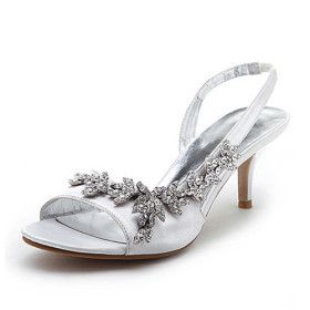 White Summer Satin Upper Mid Kitten Heel Strappy Sandals Wedding Shoes Bride Shoes