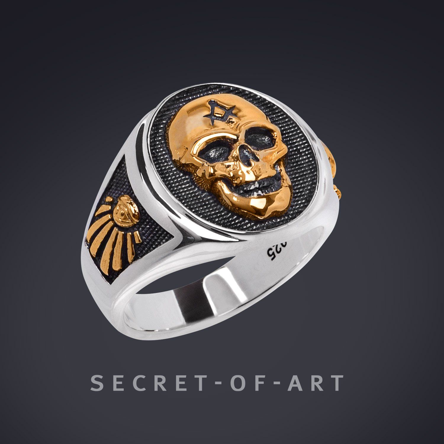 Masonic Silver 925 Big Skull Ring 24kGold Plated Parts with All Seeing Eye  Sygnet in 2019