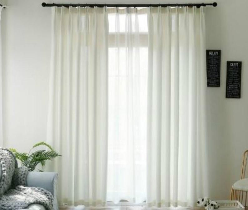 Pair Of White Cotton Linen Blend Curtains Off White Cotton Etsy In 2020 Curtains Linen Drapes Long Custom Curtains #off #white #living #room #curtains