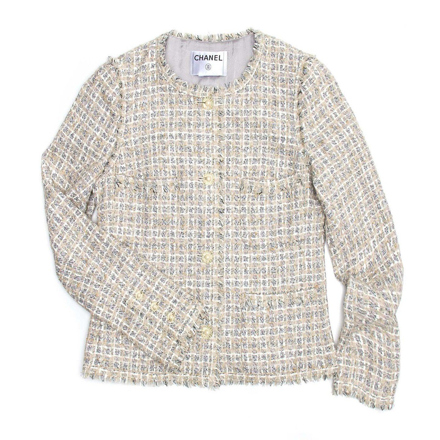 660e11794 Chanel Multicolor Cotton Tweed Jacket, size 40 (French) | Jacket ...