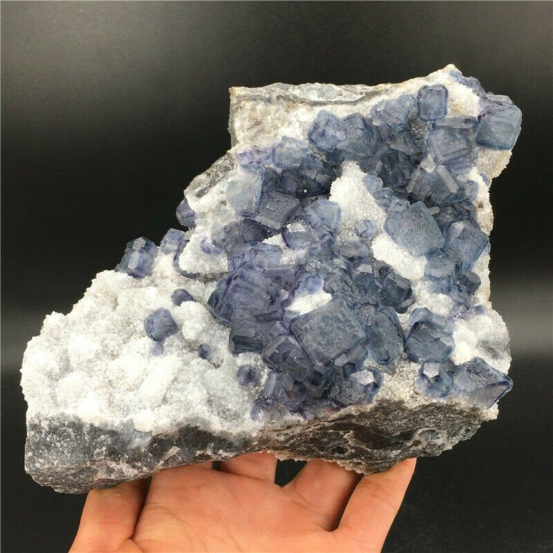 1040g Natural Blue Cube Fluorite and White Quartz Crystal Mineral Specimen by CrystalAnique on Etsy