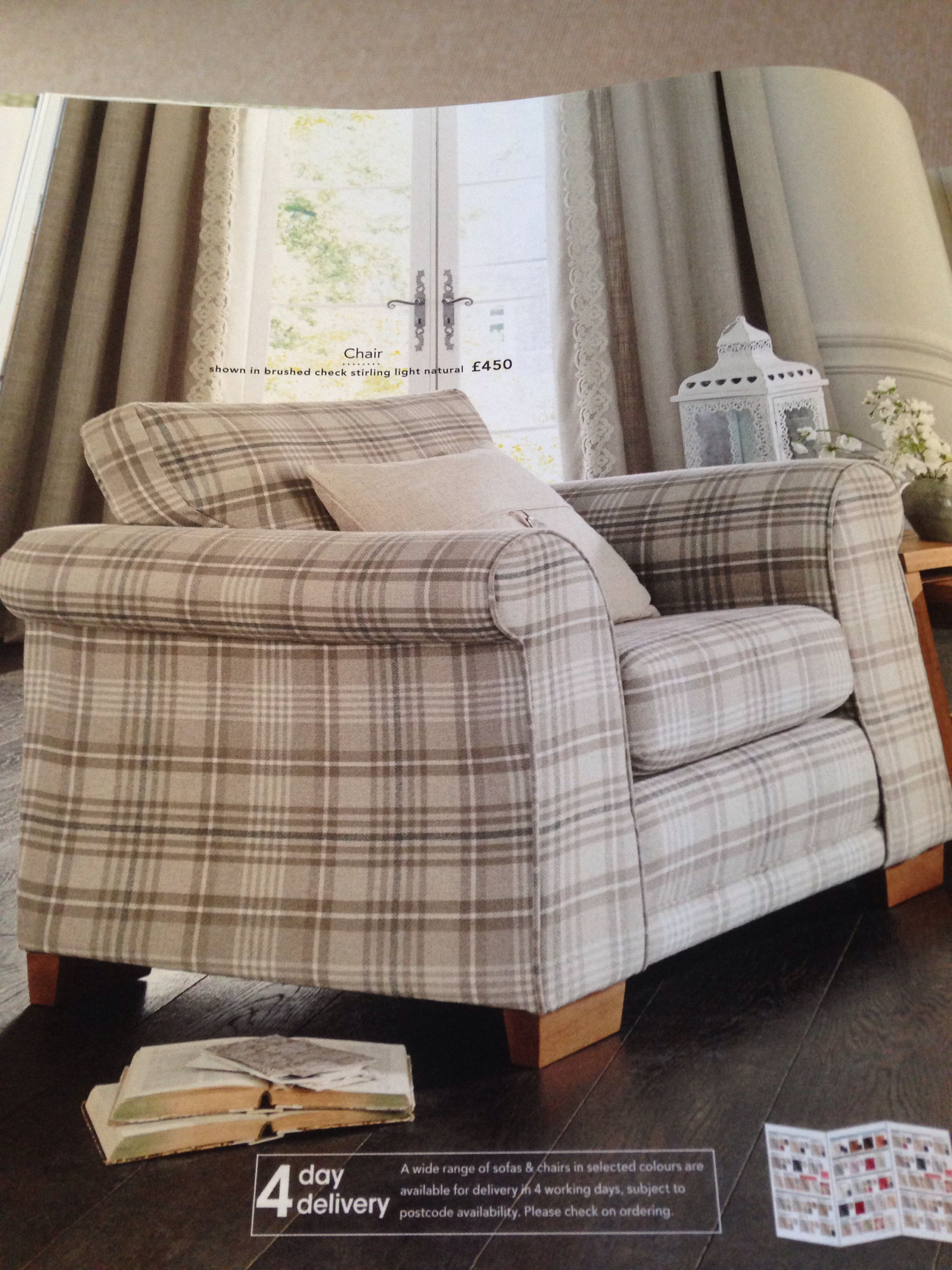 Next snuggle chair shown in brushed check Stirling light ...