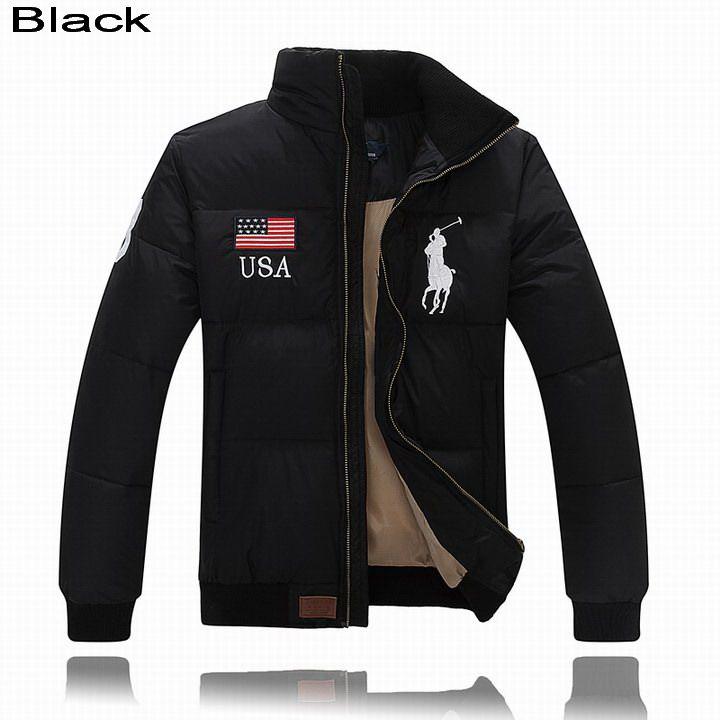 Ralph Lauren Men Full-Zip USA Flag Big Pony Quilted Down Jacket Black