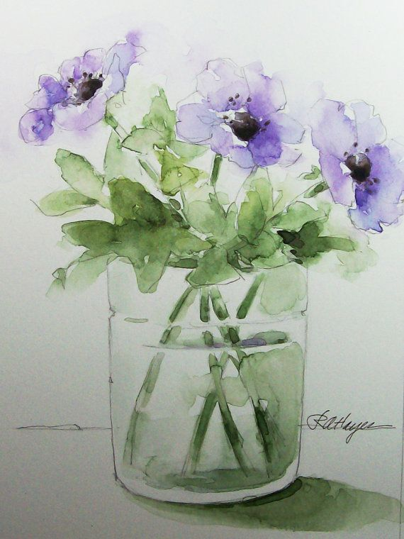 Purple Flowers In Glass Vase Original Watercolor Painting Floral
