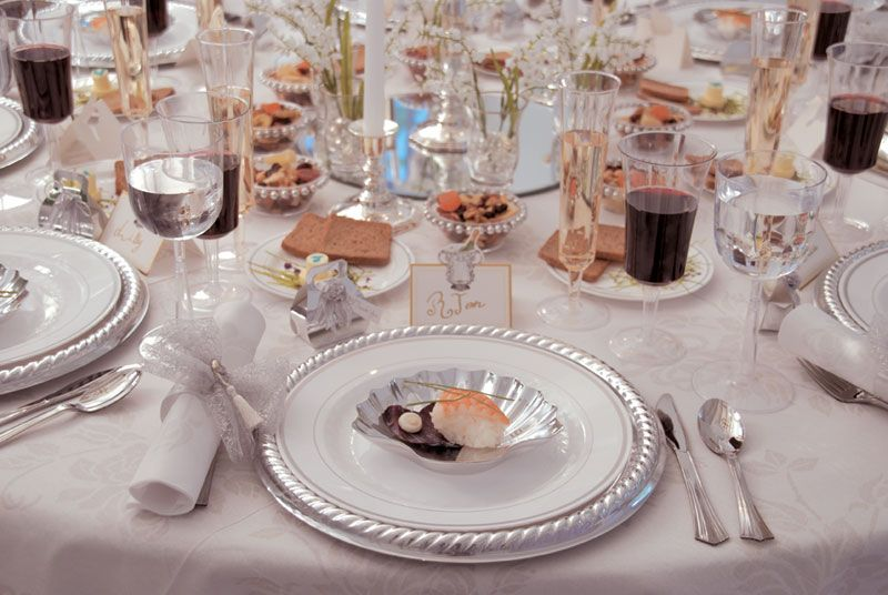 Disposable China for Wedding Receptions | Disposable Dinnerware-Silver Masterpiece $9.96 per place setting & Disposable China for Wedding Receptions | Disposable Dinnerware ...