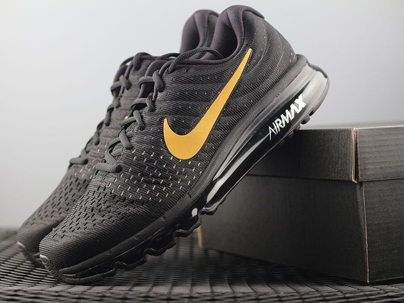 02356bce20ea Nike Air Max 2017 Mesh Men Black Gold Logo Shoes