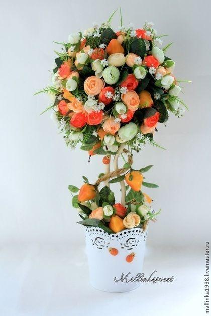 """Топиарии, дерево счастья """"Дюшес"""" - оранжевый,топиарий,топиарий дерево счастья"""